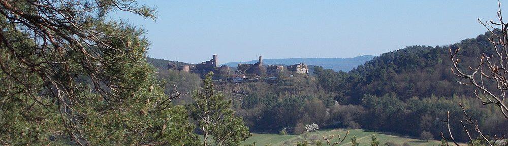 Pfälzerwald: Lachbergblick auf Burgengruppe Altdahn - Foto: Stefan Frerichs / RheinWanderer.de