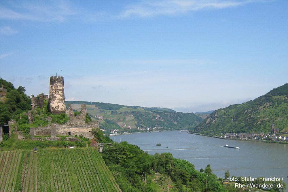 Mittelrhein: Blick auf Burgruine Fürstenberg - Foto: Stefan Frerichs / RheinWanderer.de