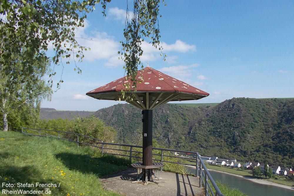 Mittelrhein: Aussichtspunkt Werlauer Pilz bei Sankt Goar - Foto: Stefan Frerichs / RheinWanderer.de