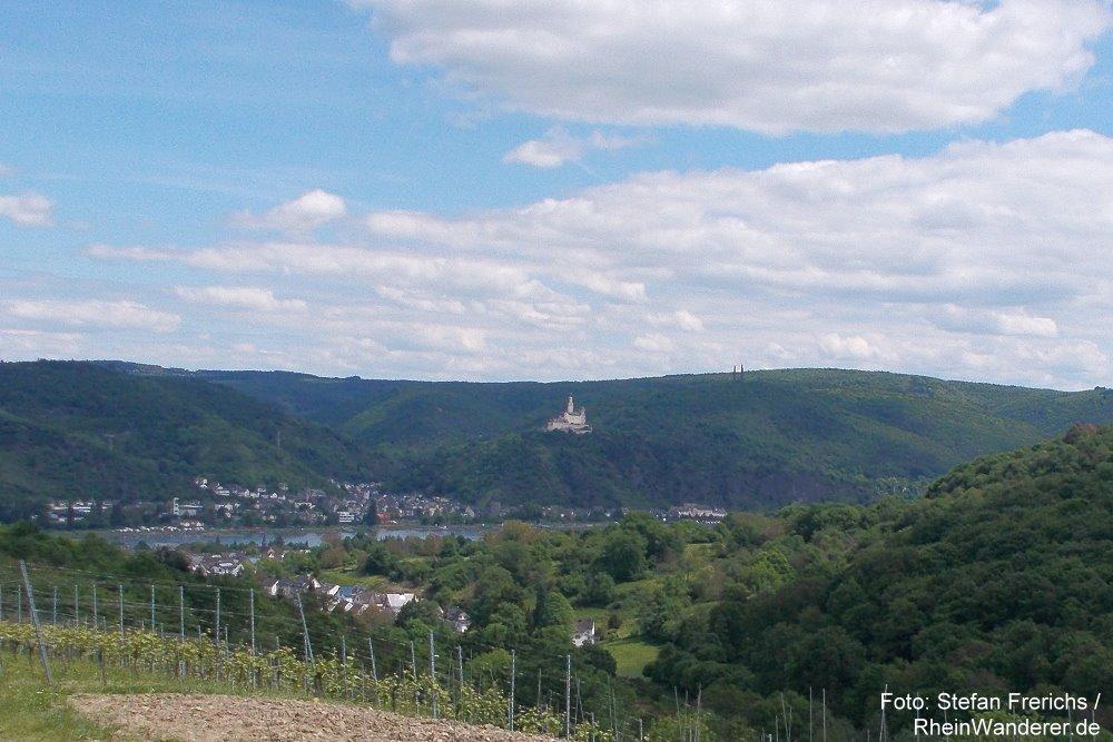 Mittelrhein: Blick zur Marksburg - Foto: Stefan Frerichs / RheinWanderer.de