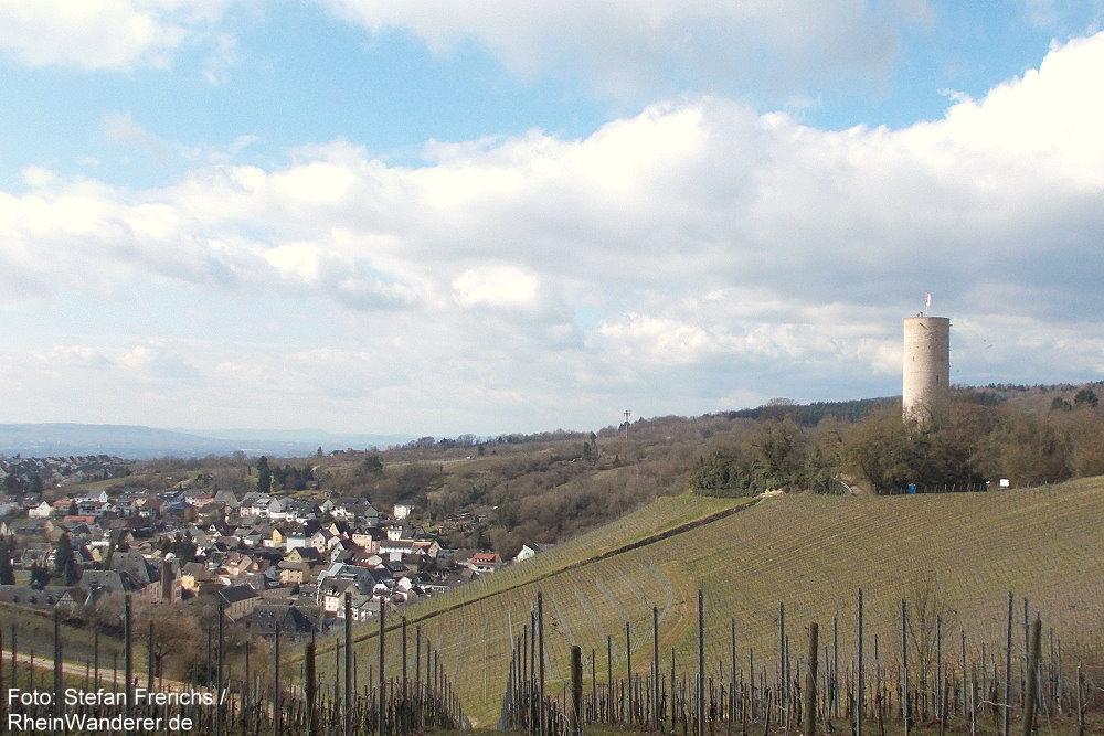 Inselrhein: Blick auf Kiedrich und Burg Scharfenstein - Foto: Stefan Frerichs / RheinWanderer.de