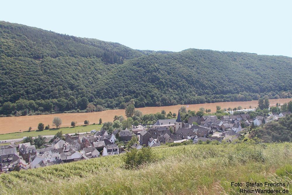 Mosel: Blick auf Pommern - Foto: Stefan Frerichs / RheinWanderer.de