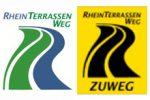 Markierungen von Hauptwegen und Zuwegen des Rheinterrassenwegs