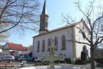Inselrhein: Marktbrunnen + Pfarrkirche von Schwabenheim - Foto: Stefan Frerichs / RheinWanderer.de