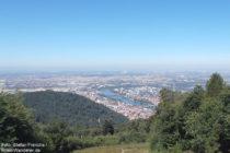 Neckar: Blick vom Königstuhl auf Heidelberg - Foto: Stefan Frerichs / RheinWanderer.de