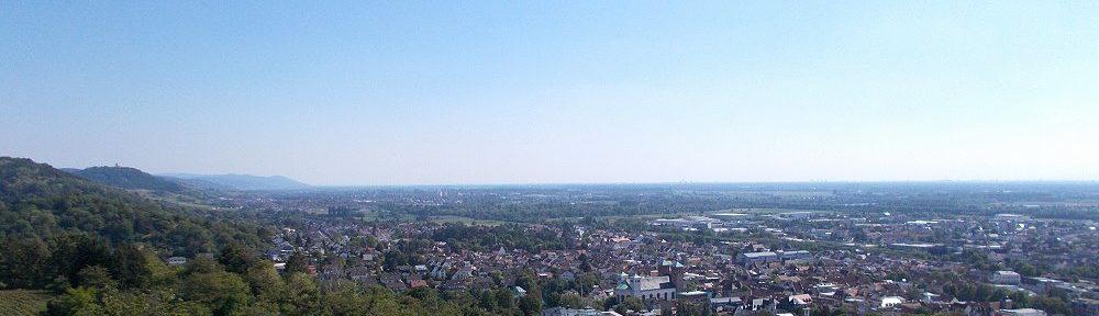 Odenwald: Blick auf Bensheim - Foto: Stefan Frerichs / RheinWanderer.de