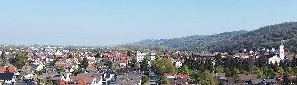Odenwald: Blick auf Hemsbach an der Bergstraße - Foto: Stefan Frerichs / RheinWanderer.de
